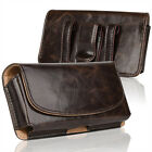 Horizontal Business Men's Leather Cell Phone Pouch Case Cover Belt Loop Holder