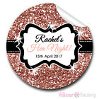 1x A4 Sheet Personalised glitter ROSE GOLD HEN NIGHT PARTY bags labels STICKERS