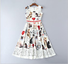 17 Occident summer fashion cat Printed pressure pleated makings knee dress SMLXL