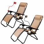 2 Zero Gravity Beach Chairs Lounge Patio Utility Tray Outdoor Folding Recliner