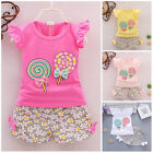 Внешний вид - 2pc baby girl clothes summer Tee +short pants kids girls casual outfits lolly