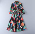 2017 Occident fashion embroidery bead Modern Vintage Printed pleated dress SMLXL