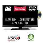 12 Volt Freeview Super Slim LED TV DVD Caravan, Boat, Marine, HGV 24v 12v 240v <br/> 16&rdquo;, 19&rdquo;, 20&rdquo;, 22&rdquo;, 24&rdquo; Available in Black, Pink, White