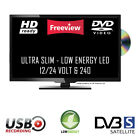 12 Volt Freeview Super Slim LED TV DVD Caravan, Boat, Marine, HGV 24v 12v 240v