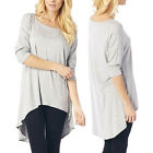 Womens 3/4 Sleeve Summer Casual Scoop Neck Loose Comfy Tunic Blouse Shirt Tops