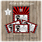 NINJA BIRTHDAY PARTY PERSONALISED CHOCOLATE WRAPPERS X 10