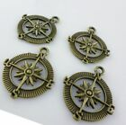 16/150pcs Compass Antique Bronze Charms Pendants Beads Jewelry Findings Making