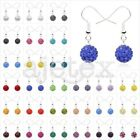 1 Pair Rhinestones Crystal Disco Ball Beads 10mm Dangle Earrings 37 Color