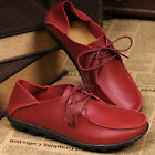 Womens Casual Moccasins Leather Shoes Flats lace up Loafers Fashion Breathable