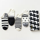 4 Pairs/Box Men's Cotton Ankle Socks Black and White Casual Grids Striped Socks