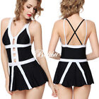 Women Push-up Two-piece Swim Dress Swimsuit Bikini Swimwear Tankini Plus Size US