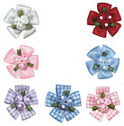 10p 25p 36mm Trio-Rose Flower w 3 Pearl Beads Satin Gingham Ribbon Eco Quality