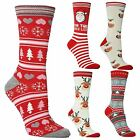 6 Ladies Festive Feet Stocking Filler Xmas Santa Christmas Novelty Socks UK 4-8