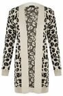 NEW WOMENS CREAM BLACK LEOPARD PRINT KNITTED HIP LENGTH OPEN LADIES CARDIGAN
