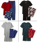 Mens Summer Pajamas Set Shirt Pants Shorts 3 piece COTTON 30-40 S-M-L-XL NEW NWT