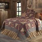 4PC MILLSBORO LOG CABIN BURGUNDY COTTON QUILT PILLOW CASES BED SET VHC BRANDS
