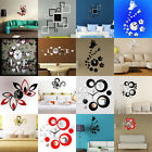 Mirror Style Removable Decal Art Mural Wall Clock Sticker Home Room DIY Decor