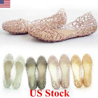 Hot Womens Round Toe Crystal Shoes Jelly Hollow Out Sandals