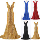 long dresses for women wedding Bridesmaid Evening Prom Party Gown Dress Blue 14