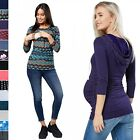 Happy Mama Women's Nursing Double Layer Top Breastfeeding Hoodie Maternity. 426p