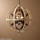 Retro Rustic Weathered Wooden Globe Metal Orb Crystal 4-Light Chandelier