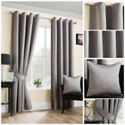 Luxury Grey Satin Curtains Soft Touch Ring Top Eyelet Ready Made Modern Design