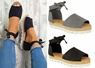 Womens Ladies Flat Lace Up Espadrilles Summer Chunky Holiday Sandals Shoes Size