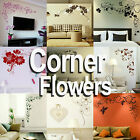 Corner Flower Wall Stickers! Home Transfer Graphic / Floral Decal Decor Stencil