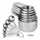 13 Piece Measuring Cups And Spoons Set, Sturdy and Stainless Steel 7 Measuring