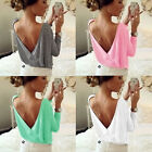 Fashion Women Summer Casual Blouse Loose Backless Tops Long Sleeve T Shirt