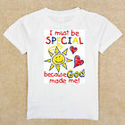Boys Girls Infant Toddler Youth White TShirt Creeper Special Because God Made Me