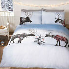 Novelty Christmas Reindeer Duvet Cover - Festive Bedding Set in White & Blue