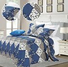 Blue Luxury Embroidered Single Double King Quilted Bedspread + two Pillow shams