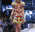 17 Occident fashion manual nail bead flower high-end Jacquard party dress SMLXL