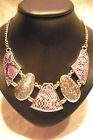 """NECKLACE COSTUME JEWELLERY VINTAGE STYLE, SILVER METAL & PURPLE, MAX. 21"""" LENGTH"""