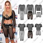 New Womens Fishnet Mesh See Through Crop Top 3/4 Leggings Cycling Short Hot Pant