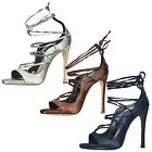 WOMENS SHOES LADIES HIGH HEELS STRAPPY LACE UP PARTY PROM OCCASION CELEB STYLE