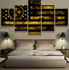 Framed Pittsburgh Steelers American Flag 5 pcs Canvas Wall Art Poster Home Decor