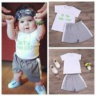 Baby Boys T-Shirt Tops + Shorts Set Kids Summer Casual Clothes Outfits Top Grade