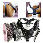 american bully harness - BLACK Spiked Studded Leather Dog Harness & Collar Set For Pitbull Bully Boxer US