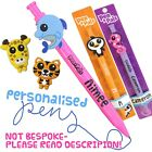 Kids Personalised Name Pens Animal Blue Ballpoint Pen School Gift Boys Girls A-E