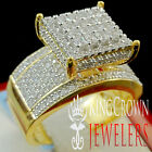 Ladies Yellow Gold Sterling Silver Lab Diamond Cluster Bridal Engagement Ring