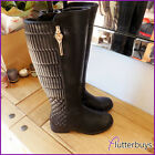 Black Womans Quilted Boots Faux soft Leather Fur Lined Riding skull Ladies Size