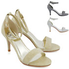 Womens Low Heel Sandals Peep Toe Stiletto Ladies Glitter Strappy Party Shoes 3-8