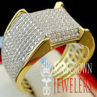 MENS REAL 14K YELLOW GOLD STERLING SILVER LAB DIAMOND ENGAGEMENT PINKY RING BAND