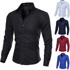 Men's Casual Shirt Long Sleeves Slim Fit Formal Business Dress Shirt Tops S M L