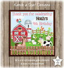 FARM YARD ANIMALS BIRTHDAY PARTY PERSONALISED SQUARE GLOSS PARTY STICKERS X 12