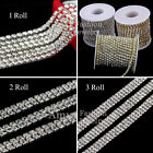 3mm Silver 1 , 2 , 3 Roll Glass Rhinestone Close Chain Trim Sewing Craft Chain