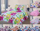 2PC TWIN KIDS QUILT PILLOW CASE SET PRINTED QUILT BEDDING BEDSPREAD NEW