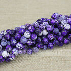 """Enhanced Purple Natural Agate Crack Design Round Beads 15.5"""" Inches Strand"""